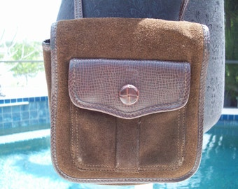 Brown Leather/Suede Saddle/Satchel/Tote/Purse by Liz Claiborne