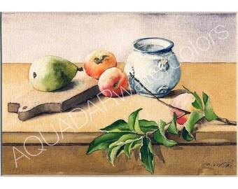 READY TO SHIP Original Watercolor Painting Still Life with Ceramic Mug Kitchen Decor Wall Art Home Decor Housewarming Gift Framed