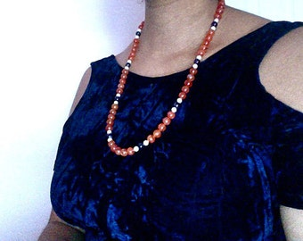 Carnelian, Amethyst, and Pearl Necklace
