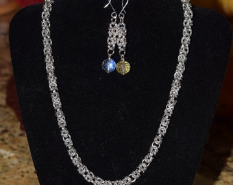 Byzantine Chain-maille Necklace and earrings
