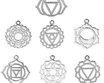 "7 Silver CHAKRA Charm Pendants set, one of each design, meditation yoga charms, 7/8"" to 1-1/8"" diameter, chs2357"