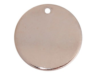 "10 ROSE GOLD Blanks, Metal Stamping Blanks Charms, round circle disc, 15mm wide (5/8""), 16 gauge, msb0355"
