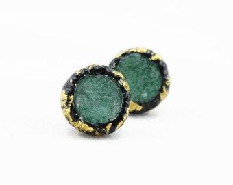 Emerald green raw druzy stud earrings gold dipped drusy earrings