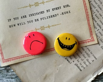 Vintage Smiley and Sad Pinback Buttons Lot of 2