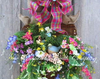 Spring Wreath, Floral Wreath, Summer Wreath, Garden Wreath, Floral Wall Bouquet, Country French Wreath, Mother's Day Gift, Designer Wreath