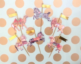 Six Carousel Animal Cupcake Toppers