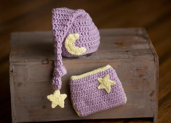 Newborn Photo Prop, Moon Hat And Diaper Cover Set, Sleepy Time Hat Moon And Star Hat, Newborn Stocking Cap, Newborn Elf Hat, Long Tail Hat