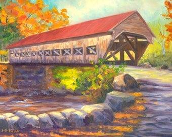 Albany Covered Bridge original 8x10 oil by Elaine Farmer