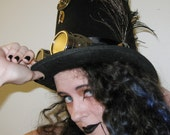 Steampunk Top Hat.....FREE SHIP.....Robot Time Traveler, Cos Play, Hand Sewn Parts, watch parts Steam Punk, Gear, Cog