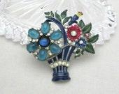 Coro Enamel Brooch - 1940s Coro Rhinestone Brooch - Flower Basket Pin - Signed Coro Jewelry