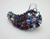 AUSTRIA Rhinestone Brooch - Purple Rhinestone Pin - Statement Rhinestone Brooch - Vintage Rhinestone Jewelry