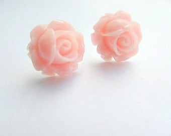 Dusty Baby Pink Rose Stud Earrings
