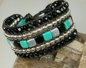 Five Row Black, Teal and Silver Colored Tile Beaded Leather Bracelet