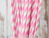 """25 extra long soda bottle pink and white stripe paper drinking straws -  with FREE Blank Flags.  See also - """"Personalized"""" flags option."""