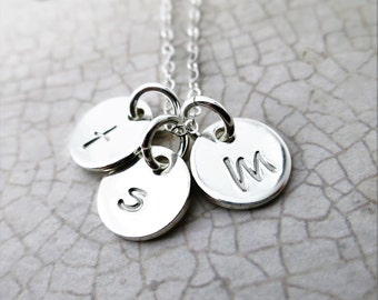 Initial Necklace - Multiple Tiny Discs - Small Discs - Custom Necklace - Mommy Necklace - Gift for Mom - Granny Necklace - Gift for Grandma