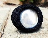 White Russian, ooak adjustable cocktail ring, bold fashion statement ring, glass bead polystyrene