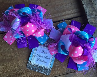 Funky Pigtail Hair Bows, set of two hair bows , birthday hair bows , over the top hair bows , funky hair bow for girls