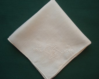 Vintage Handkerchief/Hankie White with Monogrammed E & Delicate White Flowers - Edna