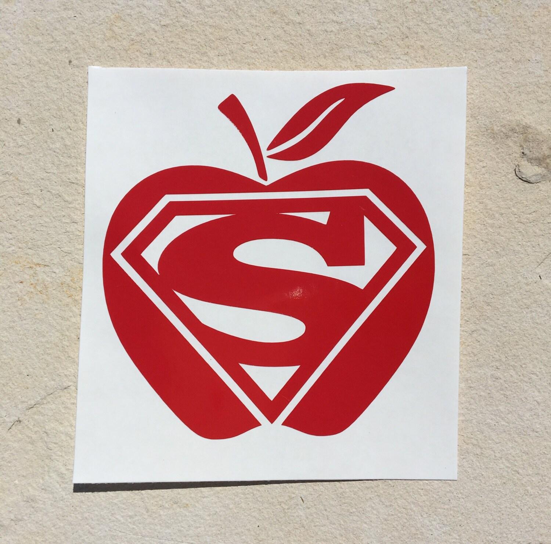 Teacher Decal Super Teacher Decal Superman Decal Apple