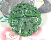 Carved Jade Pendant,Green Jade Pendant,Chinese Dragon Phoenix Jade Pendant Double Face Animal Jade Necklace wholesale gemstone supplies