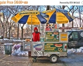 SALE 20% OFF Hot Dog Man, New York City, Color Photograph, Manhattan, Central Park, Food Cart Photograph, Colorful, Shabby Chic, Home Decor,