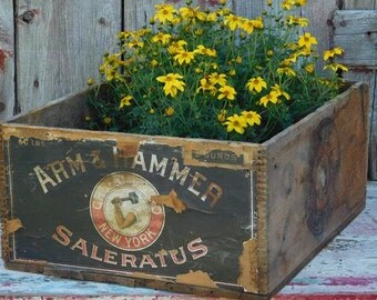 Antique Arm & Hammer Saleratus Crate Box, Church and Co. New York, Farmhouse Primitive Antiques