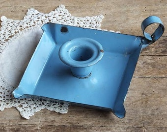 Vintage Blue Enamelware Candlestick, Candle Holder