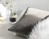 Velvet Pillow | Brown Grey Decorative Pillow | Greige Throw Pillow | Cotton Velvet Pillow Cover