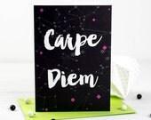 Carpe Diem Inspirational Card- New Job - Traveling - Free Shipping