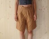 SALE Vintage 70's Brown palazzo Shorts high waist  linen shorts