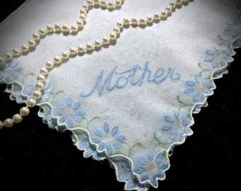 "Vintage ""Mother"" Monogrammed Handkerchief - Sheer Vintage Hanky - Monogrammed Linens - Mother's Day - Gifts - Vintage Linens"