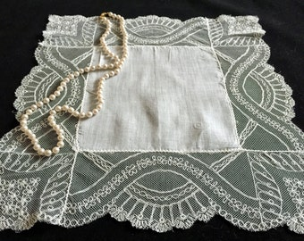 Vintage Brussels Lace Handkerchief - Antique Lace Hanky - Fine Linens - Vintage Bride - Weddings - Accessories - Gifts