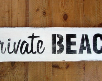 PRIVATE BEACH sign