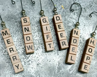 Christmas Scrabble Ornament with Mercury Glass Beads
