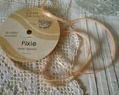 Vintage Pink Pixie Ribbon Roll of Pink Satin Ribbon Narrow Pink Ribbon Sewing Craft Supplies