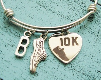10K running gift, 10K race gift, running bracelet, running team gift encouragement, 10K runner gift, 10K run bracelet, love running jewelry
