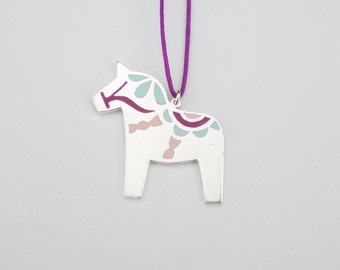 DALA HORSE NECKLACE / Polymer clay and sterling silver Dala Horse necklace / Dala Horse pendant