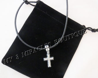 Boys Teens Leather CROSS NECKLACE Black Cord 1st First Communion Confirmation Religious Jesus Christian Christ European Style Graduate Gift
