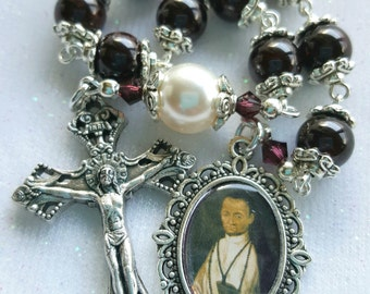 St Martin de Porres Rosary - One Decade Rosary - Garnet Gemstone Rosary - Patron of Barbers, Africans, Dominicans, Mixed Race, Poor People