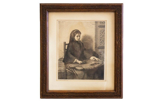 Antique Etching Wooden Frame