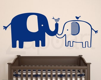 Elephant Family Wall Decal - Cute Baby Nursery Elephants Decal Sticker