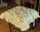 Chair Seat Cover - Ruffled Edge with Bow Ties - 18 x 18 inches -Black and Cream Toile