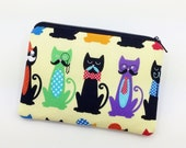Cats Coin Purse, Small Zipper Pouch, Gadget Case, Card Wallet, Gift for her, Change Purse, Padded