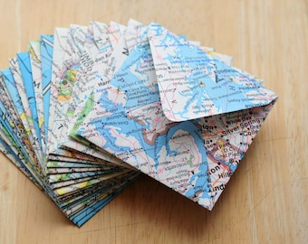 Map Mini Cards // Set of 10 // Blank Cards // Enclosure Cards // Journaling Cards // Advice Cards // Guestbook Alternative // Recycled Maps