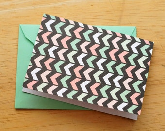 SALE-Mint Green and Coral Arrow Mini Cards // Set of 4 // Blank Cards // Gift Card Envelope // Love Note // Journaling Card // Scrapbooking
