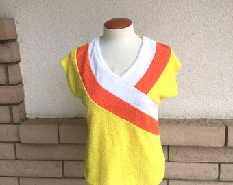 70s 80s Orange and Yellow Striped Terry Cloth Top w/ Cap Sleeves Size Small