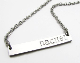 "Personalized Bar Necklace, Stainless Steel Bar Necklace, Personalized Necklace, Hand Stamped Minimalist Silver Bar Necklace 16"", 18"", 20"""