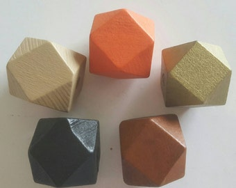 Wooden Geometric Polyhedron Faceted Bead x5 - Warm Neutrals Mix - Black, Brown, Orange, Gold & Beige - Chunky Wood Beads - Medium 20mm
