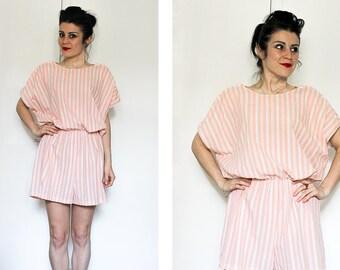 Vintage Pastel Striped Playsuit