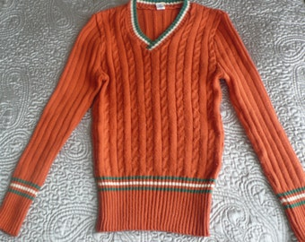 70s acrylic v neck ribbed sweater burnt orange with green and white stripe XS